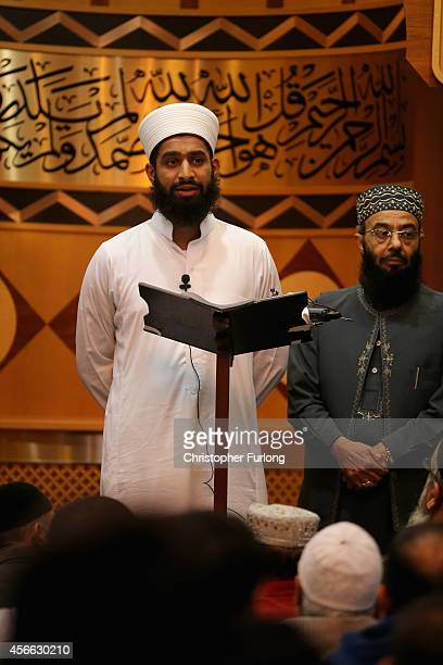 Imam Asim Hussain reads out a statement at Manchester Central Mosque after praying for British aid worker Alan Henning on October 4 2014 in Salford...