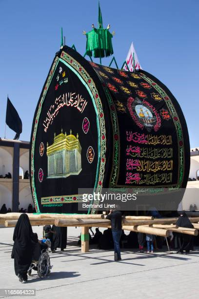 imam hussein's coffin in yazd - iran - funeral procession stock photos and pictures