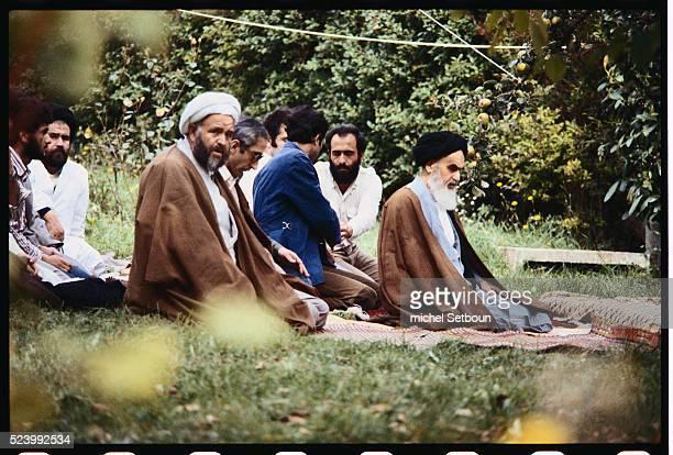 Imam Khomeini in the garden of Neauphles castle exile return from Irak Tehran Iran