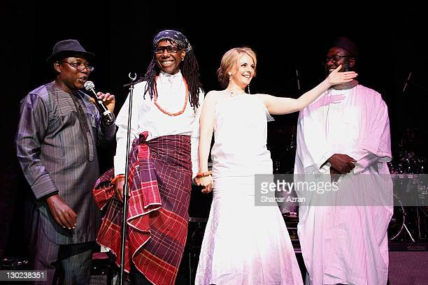 Imam Muhammad Ashafa and Pastor James Wuye of Nigeria with Nile Rodgers and Nancy Hunt at the We Are Family Foundation 10 Year Celebration Gala at...