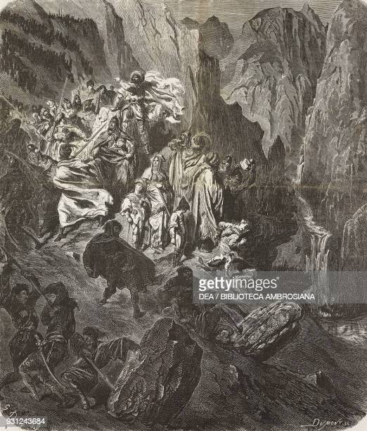 Imam Shamil the chief of Circassians commanding to drop rocks on the Russian troops the war in the Caucasus drawing by Gustave Dore illustration from...