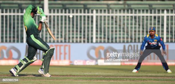 Imam UI Haq of Pakistan plays a shot during the fifth one day international cricket match between Sri Lanka and Pakistan at Sharjah Cricket Stadium...