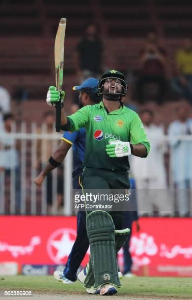 Imam UI Haq of Pakistan reacts during the fifth one day international cricket match between Sri Lanka and Pakistan at Sharjah Cricket Stadium in...