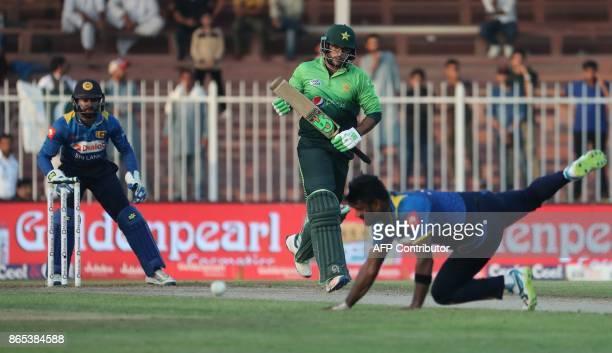 Imam UI Haq of Pakistan runs between wickets during the fifth one day international cricket match between Sri Lanka and Pakistan at Sharjah Cricket...