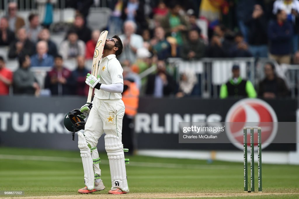 Imam ul-Haq of Pakistan kisses his bat after scoring the winning run on the fifth day of the international test cricket match between Ireland and Pakistan on May 15, 2018 in Malahide, Ireland.