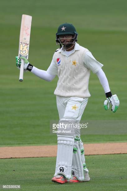 Imam ulHaq of Pakistan raises his bat after reaching a half century on day 1 of the tour match between Kent and Pakistan on April 28 2018 in...