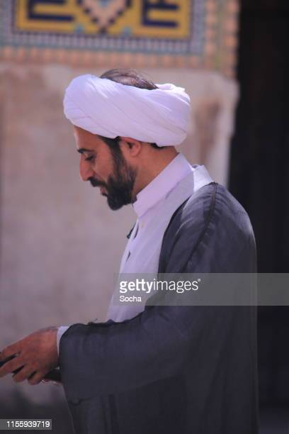 imam with a turban, jame mosque, isfahan, iran. - isfahan imam stock pictures, royalty-free photos & images