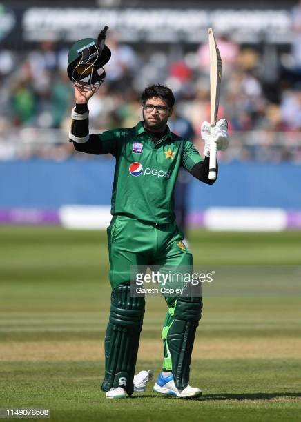 ImamulHaq of Pakistan celebrates reaching his hundred during the 3rd Royal London One Day International between England and Pakistan at The County...