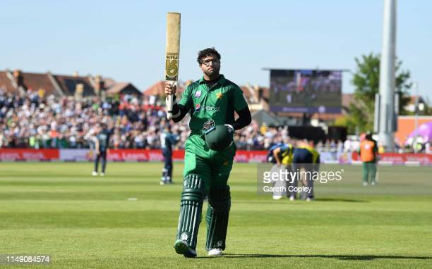 ImamulHaq of Pakistan salutes the crowd as he fields the field after being dismissed by Tom Curran of England during the 3rd Royal London One Day...