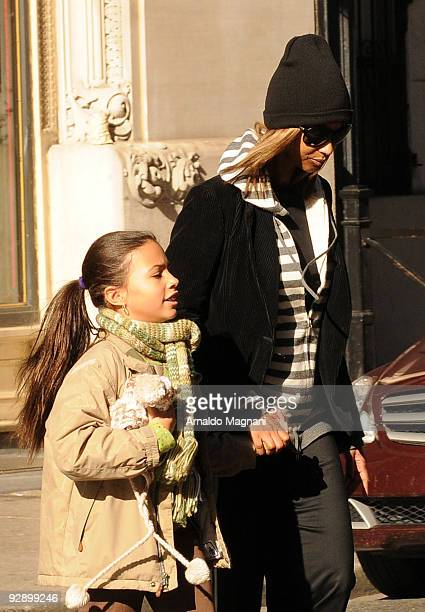 Iman and daugther Alexandria Bowie walk in SoHo on November 8 2009 in New York City