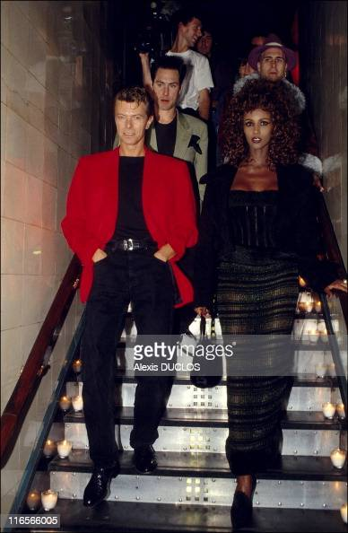 iman and david bowie at les bains douches during a soire. Black Bedroom Furniture Sets. Home Design Ideas
