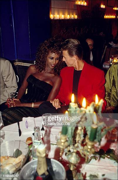 Iman and David Bowie at Les Bains douches during a soire dedicated to Francesca Dellera on 18th September 1991 in Paris