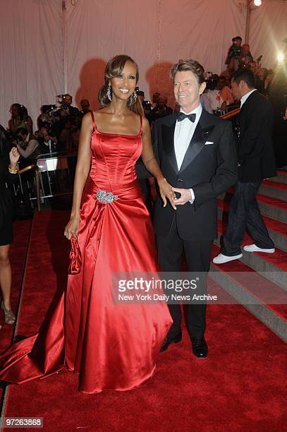 Iman and David bowie at the Costume Institute Gala celebrating SuperheroesFashion and Fantasy and held at the Metropolitan Museum of Art