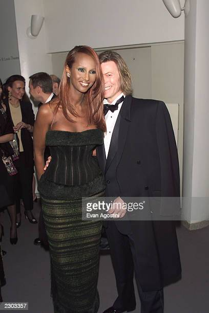 Iman and David Bowie at the gala benefit screening of the film 'Pollock' for the Film Media Arts Program of the Guggenheim Museum at the Guggenheim...