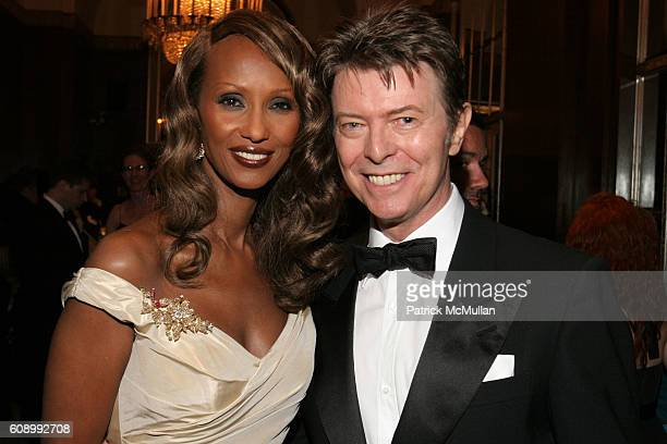 Iman and David Bowie attend The Elie Wiesel Foundation for Humanity Award Dinner Honoring Oprah Winfrey at The WaldorfAstoria on May 20 2007 in New...