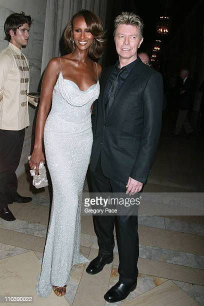 Iman and David Bowie during 2005 CFDA Fashion Awards Inside at New York Public Library in New York City New York United States