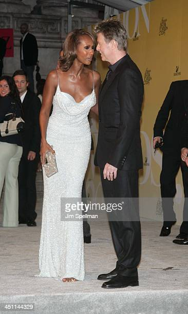 Iman and David Bowie during 2005 CFDA Fashion Awards Outside Arrivals at New York Public Library in New York City New York United States
