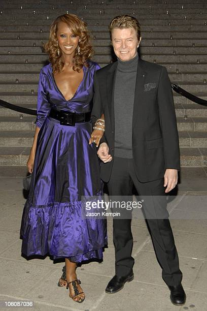 Iman and David Bowie during 5th Annual Tribeca Film Festival Vanity Fair Party Arrivals at New York State Supreme Court in New York City New York...