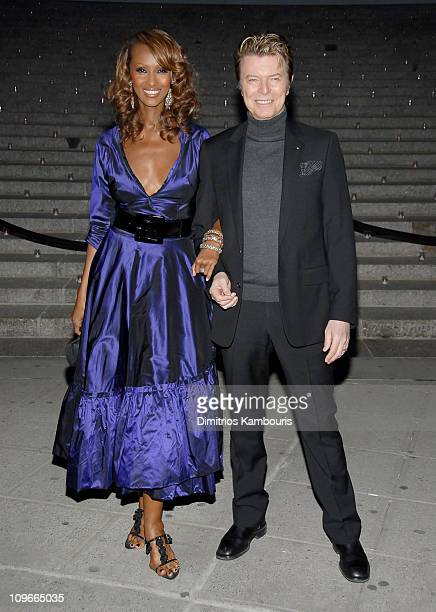 Iman and David Bowie during 5th Annual Tribeca Film Festival Vanity Fair Party at The State Supreme Courthouse in New York City New York United States