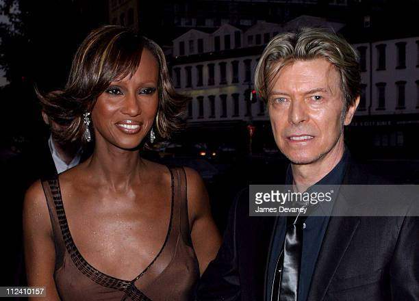 Iman and David Bowie during Anna Wintour Hosts Dinner for British Super Couple Victoria and David Beckham at SoHo House in New York City New York...
