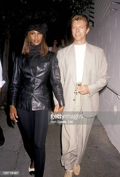 Iman and David Bowie during David Bowie and Iman at Spago's Restaurant April 4 1991 at Spago's in West Hollywood California United States