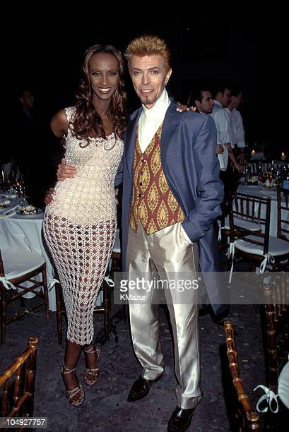 Iman and David Bowie during David Bowie's 50th Birthday Celebration Concert at Madison Square Garden in New York City New York United States
