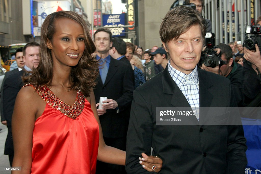 Iman and David Bowie during Opening Night of Martin McDonagh's 'The Pillowman' on Broadway - Arrivals at The Booth Theater in New York City, NY, United States.