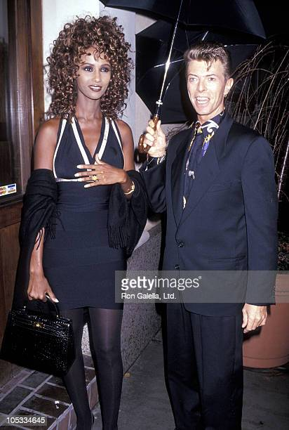 Iman and David Bowie during Unveiling of the 1991 Holiday Windows at Barneys at Barneys in New York City New York United States