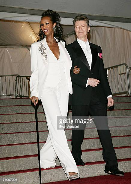 Iman and David Bowie leave The Metropolitan Museum of Art's Costume Institute Gala May 07 2007 in New York City