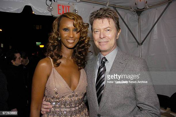 Iman and husband David Bowie arrive at Carnegie Hall where she was honored during Glamour magazine's 17th annual Women of the Year awards