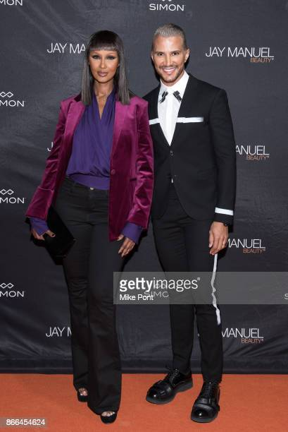 Iman and Jay Manuel attend the Jay Manuel Beauty x Simon launch event at Highline Stages on October 25 2017 in New York City