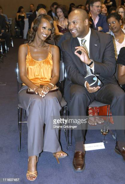 Iman and Londell McMillen during The Door Hosts Annual Opening Doors Awards Gala Event at Christie's in New York City New York United States