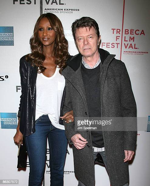 Iman and Musician David Bowie attend the premiere of 'Moon' during the 8th Annual Tribeca Film Festival at BMCC Tribeca Performing Arts Center on...