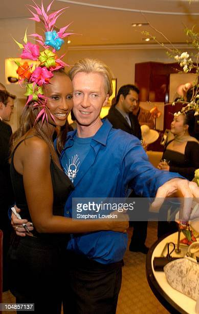 Iman and Philip Treacy during Philip Treacy Shows His Spring 2003 Hat Collection at Bergdorf's at Bergdorf Goodman in New York City NY United States