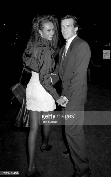 Iman and Willy Regan attend Fete de Famille AIDS Benefit on October 1 1987 at Mortimer's Restaurant in New York City
