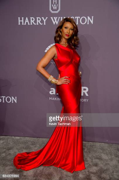 Iman arrives at the 19th Annual amfAR New York Gala at Cipriani Wall Street on February 8 2017 in New York City
