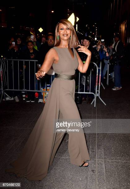 Iman arrives to Harper's BAZAAR 150th Anniversary Event at The Rainbow Room on April 19 2017 in New York City