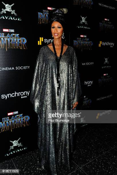 Iman attends The Cinema Society with Ravage Wines Synchrony host a screening of Marvel Studios' 'Black Panther' at The Museum of Modern Art on...