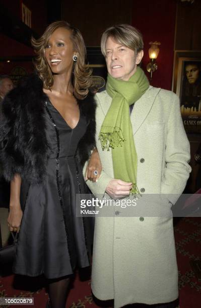 Iman David Bowie during Gangs of New York World Premiere at Ziegfeld Theater in New York City New York United States