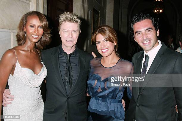 Iman David Bowie Eva Mendes and Yigal Azrouel during 2005 CFDA Fashion Awards Inside at New York Public Library in New York City New York United...