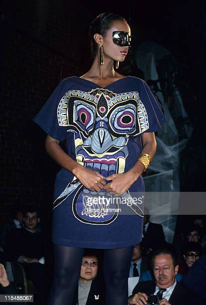 Iman during Kansai Yamamoto Fashion Show Runway 1981 in New York City New York United States