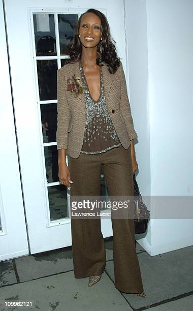 Iman during Olympus Fashion Week Spring 2005 EIF Launches Be Seen Be Screened Campaign at The Bryant Bryant Park in New York City New York United...