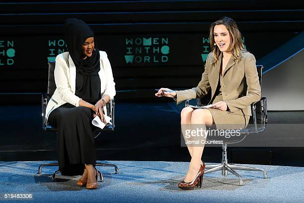 Iman Elman and Margaret Brennan speak onstage at Tina Brown's 7th Annual Women In The World Summit Opening Night at David H Koch Theater at Lincoln...
