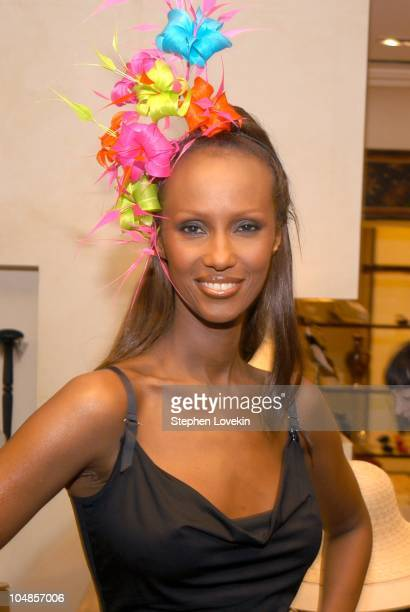 Iman in a Philip Treacy hat during Philip Treacy Shows His Spring 2003 Hat Collection at Bergdorf's at Bergdorf Goodman in New York City, NY, United...