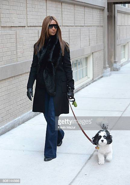 Iman is seen walking her dog in New York City for the first time since David Bowie's passing on February 2 2016