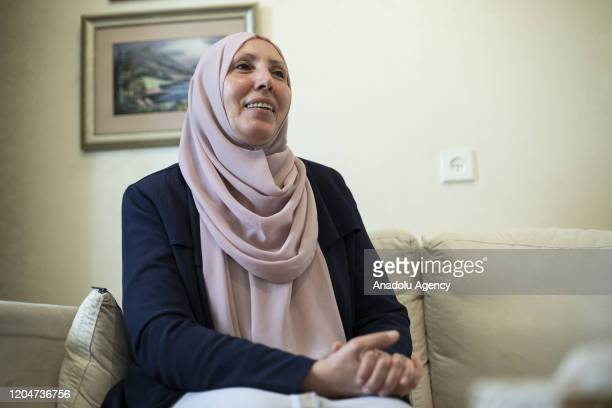 Iman Khatib Yassin Israeli Arab politician and the first woman to represent the Islamic Movement in the Joint List electoral alliance speaks during...