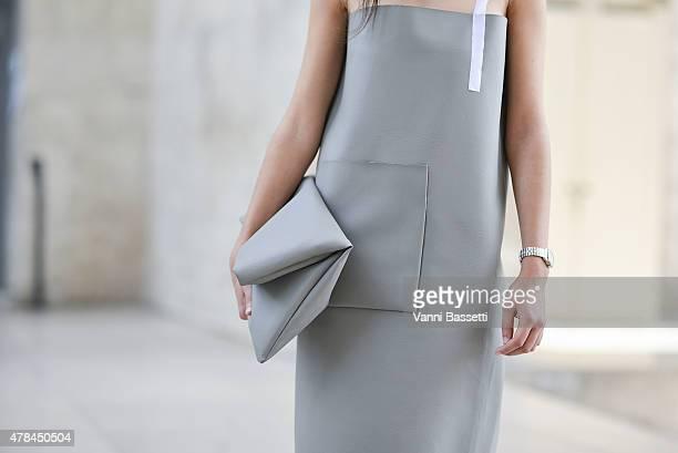 Iman Medgahed poses wearing Afterhomework dress and bag on June 25 2015 in Paris France