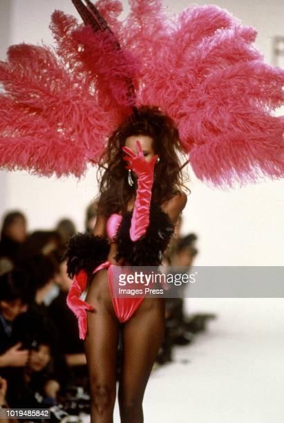 Iman models Patrick Kelley during New York Fashion Week circa 1989 in New York