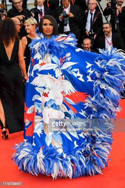 Iman Mohamed Abdulmajid walks the red carpet ahead of the opening ceremony during the 76th Venice Film Festival at Sala Casino on August 28 2019 in...