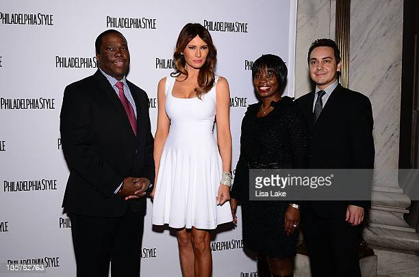 Iman P Butler Melania Trump Olivia Brown and Gabriel Constantin attend the Philadelphia Style Magazine cover event hosted by Melania Trump at Ritz...